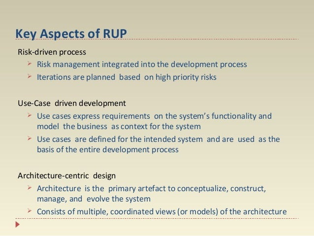 Key Aspects of RUP Risk-driven process  Risk management integrated into the development process  Iterations are planned ...