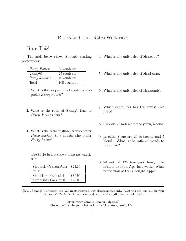 Ratios andunitratesquestions – Unit Rate Worksheet