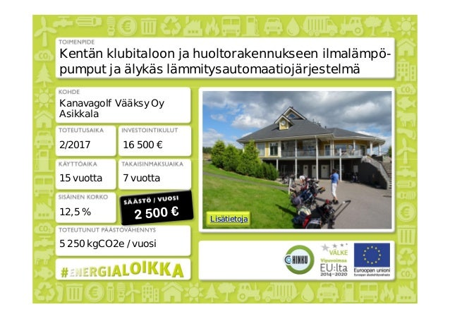 Lisätietoja Kentän klubitaloon ja huoltorakennukseen ilmalämpö- pumput ja älykäs lämmitysautomaatiojärjestelmä Kanavagolf ...