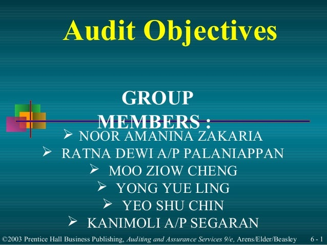 Audit Objectives                                GROUP                               MEMBERS :               NOOR AMANINA ...