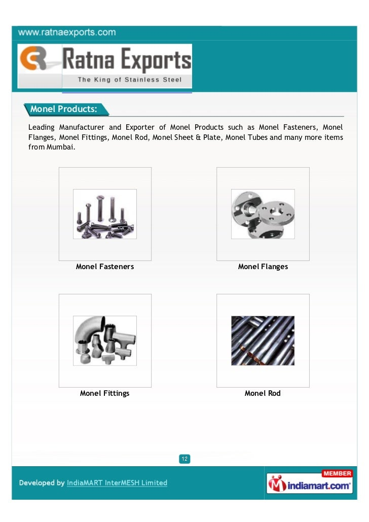 Monel Products:Leading Manufacturer and Exporter of Monel Products such as Monel Fasteners, MonelFlanges, Monel Fittings, ...