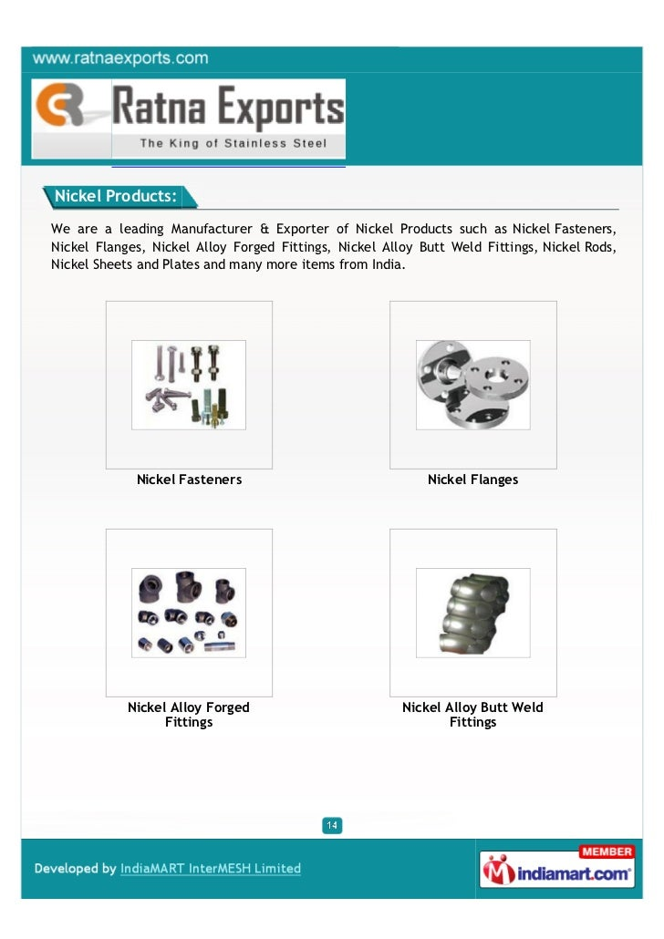 Nickel Products:We are a leading Manufacturer & Exporter of Nickel Products such as Nickel Fasteners,Nickel Flanges, Nicke...
