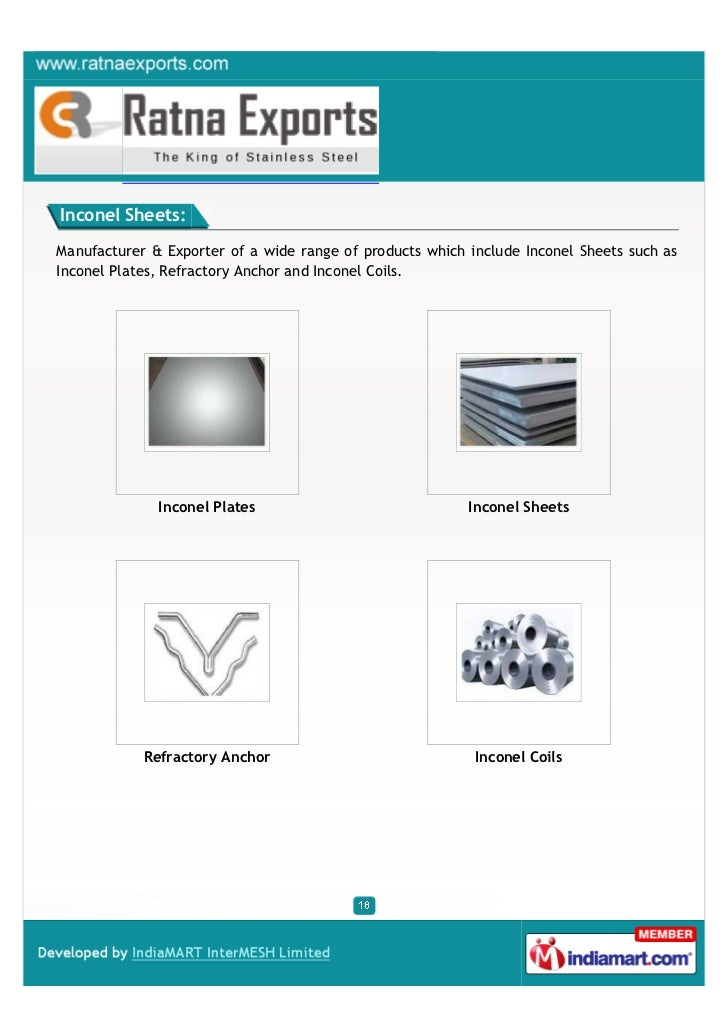 Inconel Sheets:Manufacturer & Exporter of a wide range of products which include Inconel Sheets such asInconel Plates, Ref...