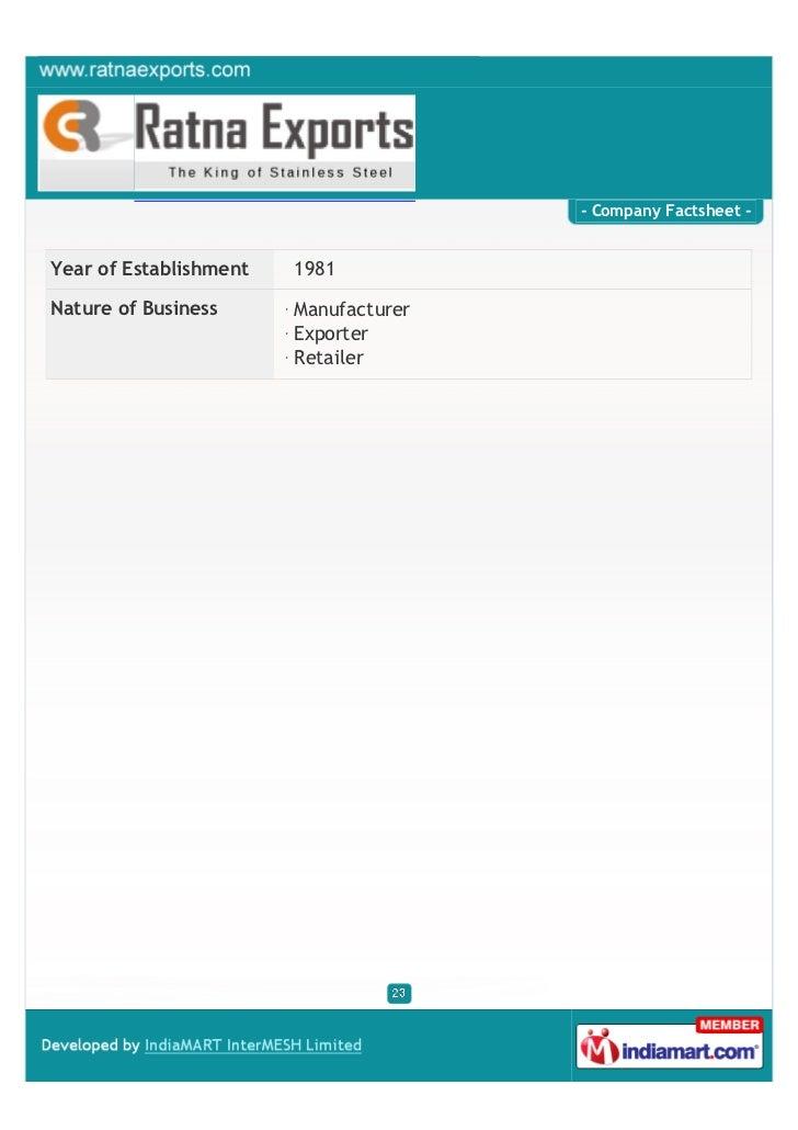 - Company Factsheet -Year of Establishment   1981Nature of Business      Manufacturer                        Exporter     ...