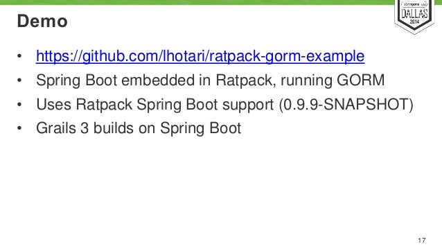 Ratpack and Grails 3 (and Spring Boot) SpringOne 2GX 2014