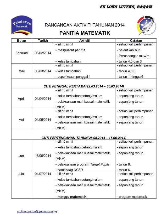 SK Long Luteng, Baram RANCANGAN AKTIVITI TAHUNAN 2014 PANITIA MATEMATIK Bulan Tarikh Aktiviti Catatan Februari 03/02/2014 ...