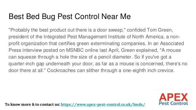 """Best Bed Bug Pest Control Near Me """"Probably the best product out there is a door sweep,"""" confided Tom Green, president of ..."""