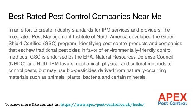 Best Rated Pest Control Companies Near Me In an effort to create industry standards for IPM services and providers, the In...