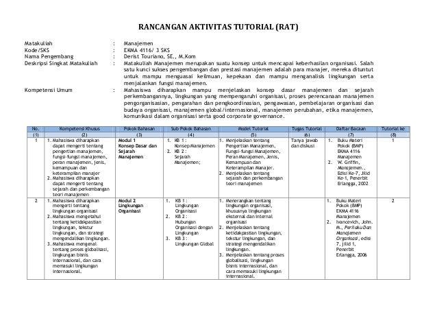 RANCANGAN AKTIVITAS TUTORIAL (RAT) Matakuliah : Manajemen Kode/SKS : EKMA 4116/ 3 SKS Nama Pengembang : Derist Touriano, S...