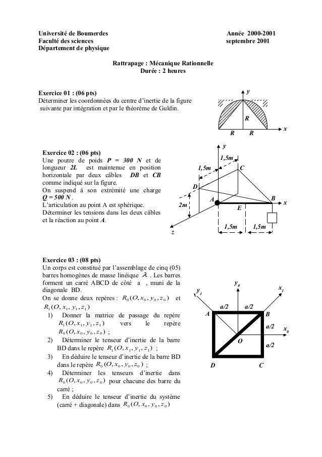 Université de Boumerdes Année 2000-2001 Faculté des sciences septembre 2001 Département de physique Rattrapage : Mécanique...