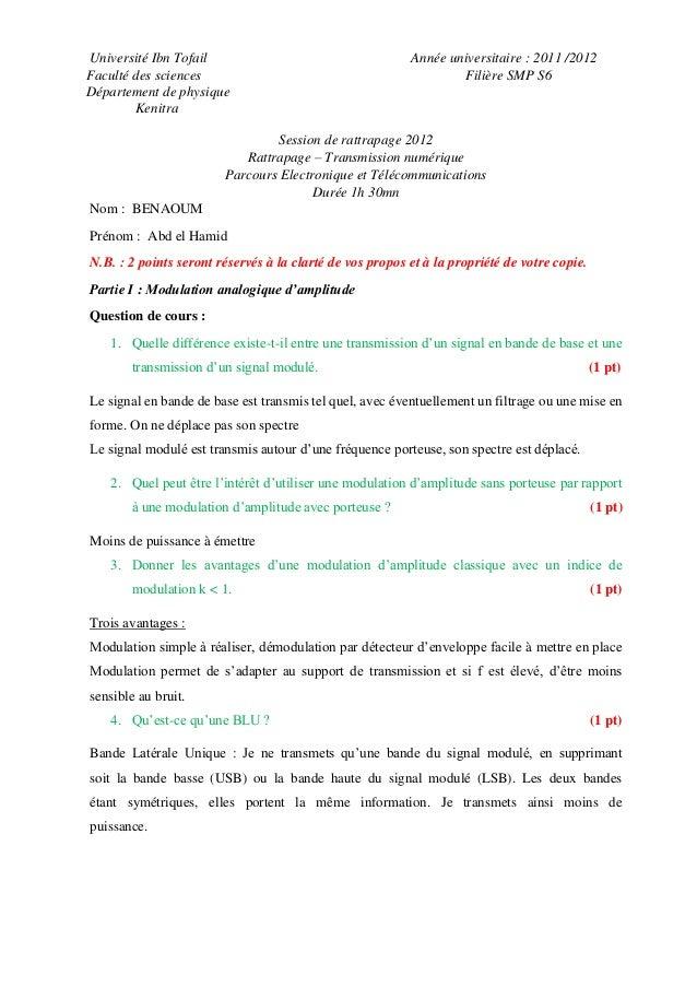 Université Ibn Tofail Année universitaire   2011  2012 Faculté des sciences  Filière SMP S6 Département Exercice 1 ... 9ef4a48a6d9b