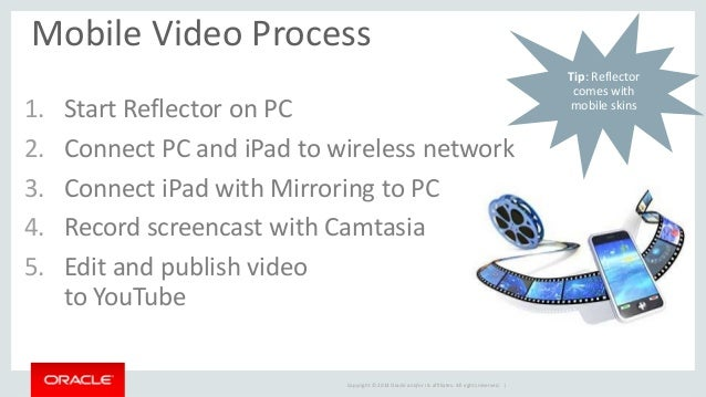 Copyright © 2014 Oracle and/or its affiliates. All rights reserved. |  Mobile Video Process  1.Start Reflector on PC  2.Co...