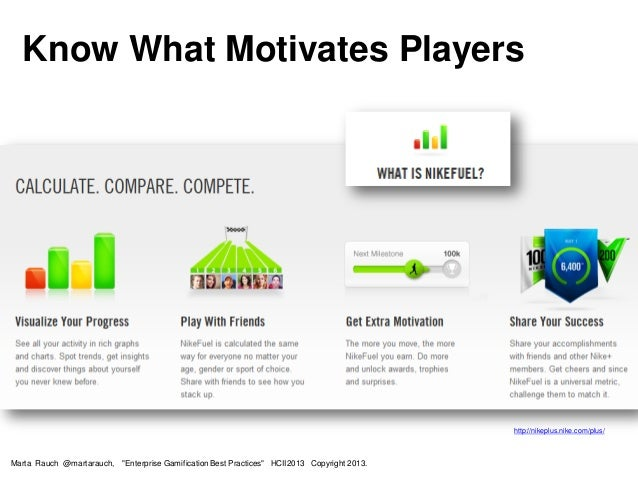 """Know What Motivates Players http://nikeplus.nike.com/plus/ Marta Rauch @martarauch, """"Enterprise Gamification Best Practice..."""
