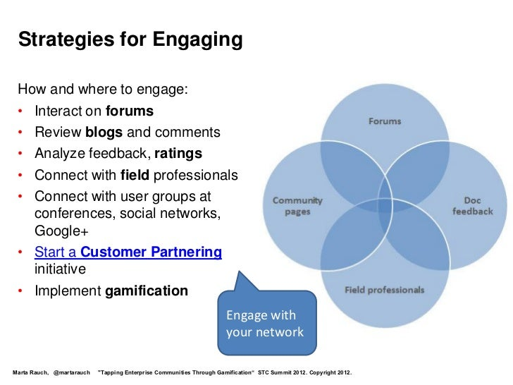Strategies for Engaging How and where to engage: • Interact on forums • Review blogs and comments • Analyze feedback, rati...