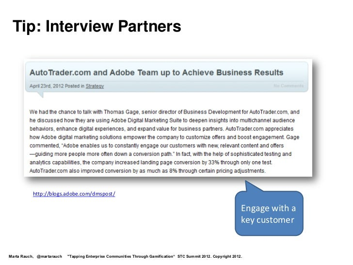 Tip: Interview Partners          http://blogs.adobe.com/dmspost/                                                          ...