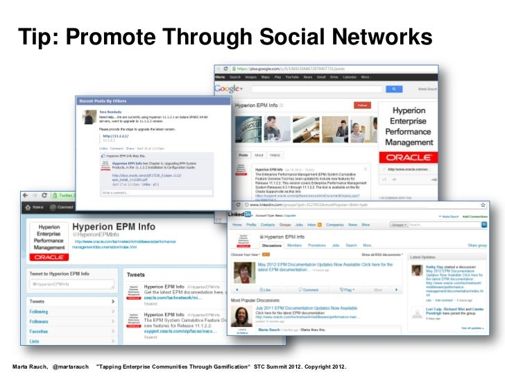 """Tip: Promote Through Social NetworksMarta Rauch, @martarauch   """"Tapping Enterprise Communities Through Gamification"""" STC S..."""
