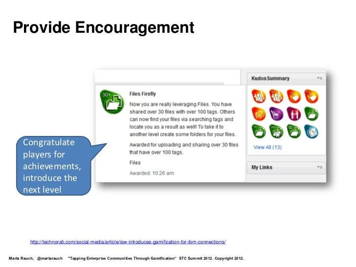 Provide Encouragement      Congratulate      players for      achievements,      introduce the      next level         htt...