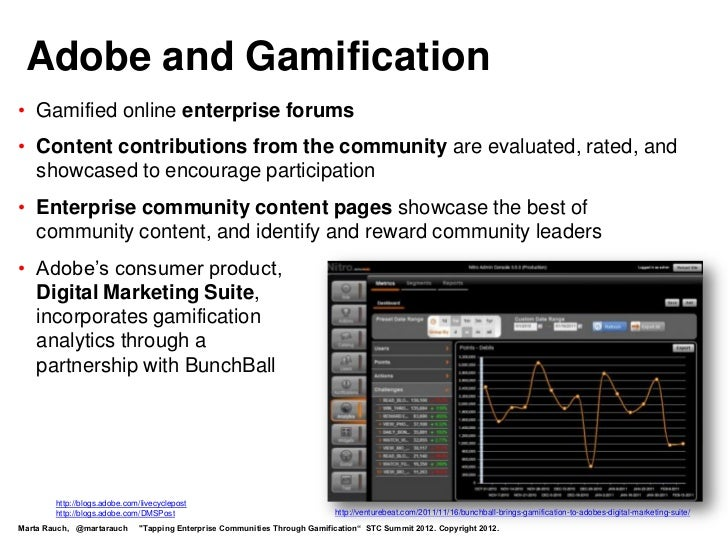 Adobe and Gamification• Gamified online enterprise forums• Content contributions from the community are evaluated, rated, ...