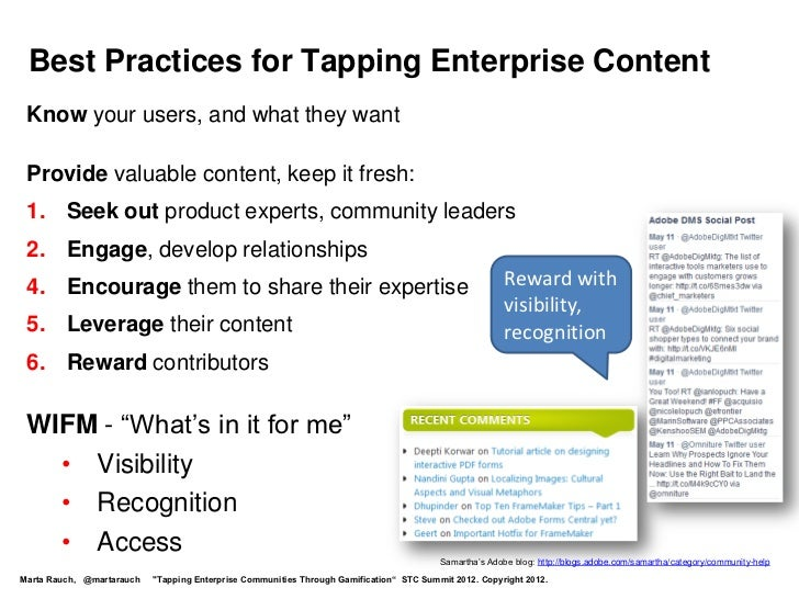 Best Practices for Tapping Enterprise Content Know your users, and what they want Provide valuable content, keep it fresh:...