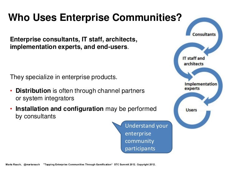 Who Uses Enterprise Communities?  Enterprise consultants, IT staff, architects,  implementation experts, and end-users.  T...