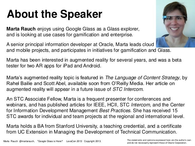3b27e7ca3957 About the Speaker Marta Rauch Google Glass is Here! What s Real