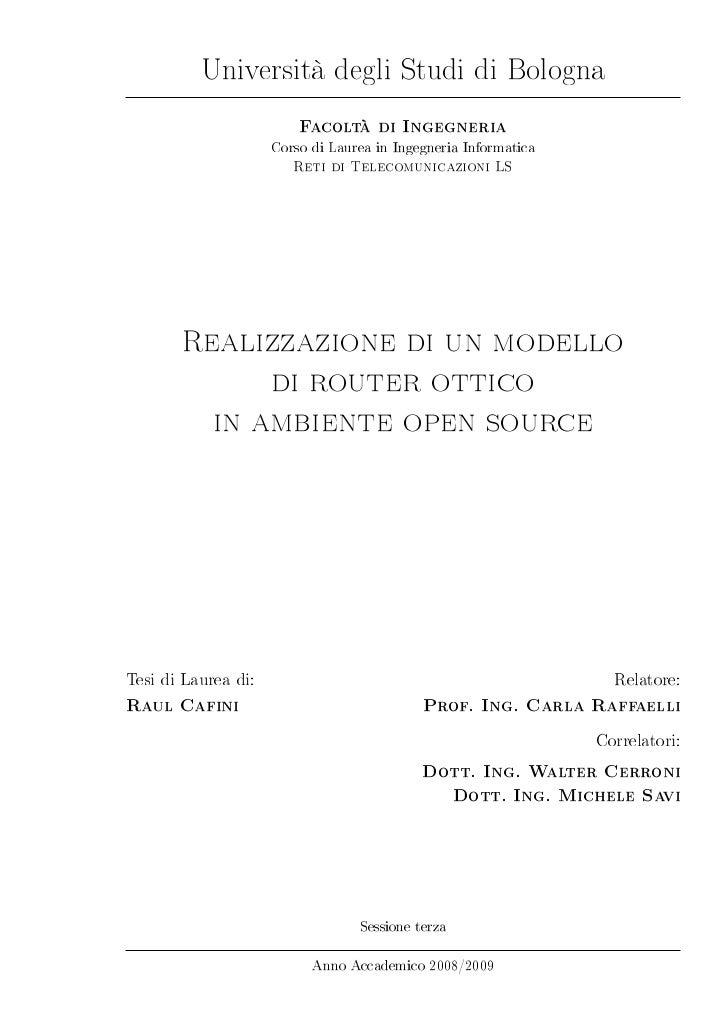 Università degli Studi di Bologna                         Facoltà di Ingegneria                     Corso di Laurea in Ing...