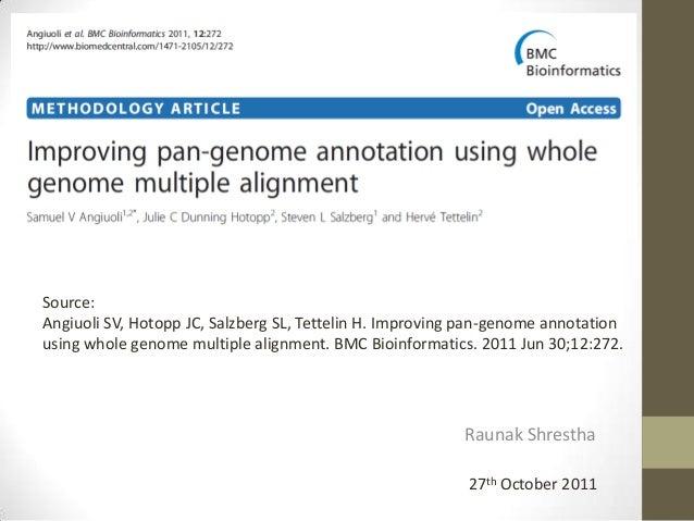 Raunak Shrestha 27th October 2011 Source: Angiuoli SV, Hotopp JC, Salzberg SL, Tettelin H. Improving pan-genome annotation...