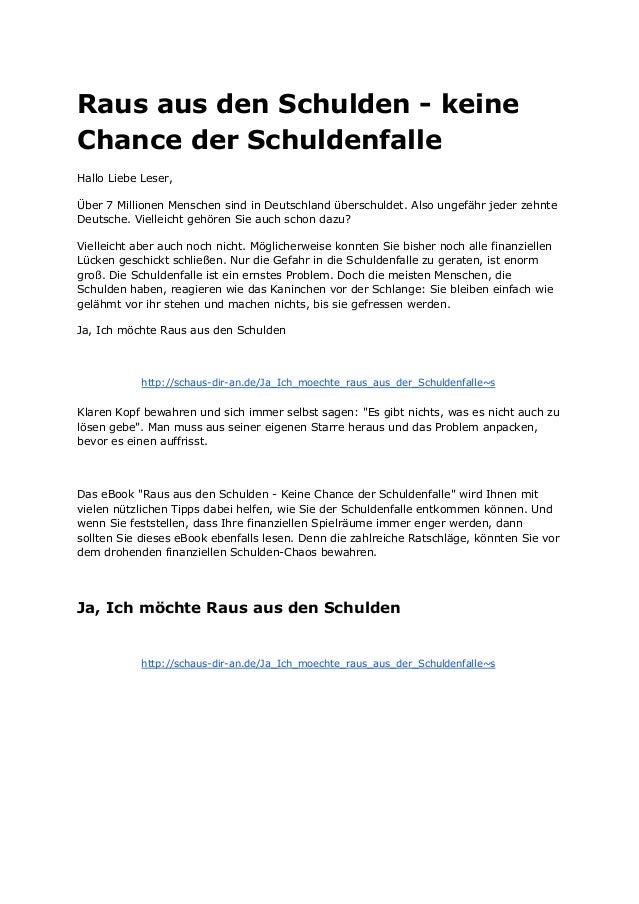 RausausdenSchuldenkeine ChancederSchuldenfalle HalloLiebeLeser, Über7MillionenMenschensindinDeutschland...