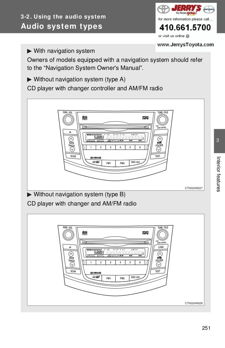 3-2. Using the audio systemAudio system types    With navigation system  Owners of models equipped with a navigation syste...