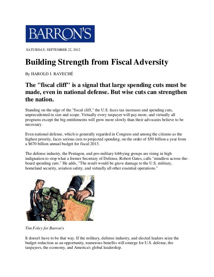 """SATURDAY, SEPTEMBER 22, 2012Building Strength from Fiscal AdversityBy HAROLD J. RAVECHÉThe """"fiscal cliff"""" is a signal that..."""