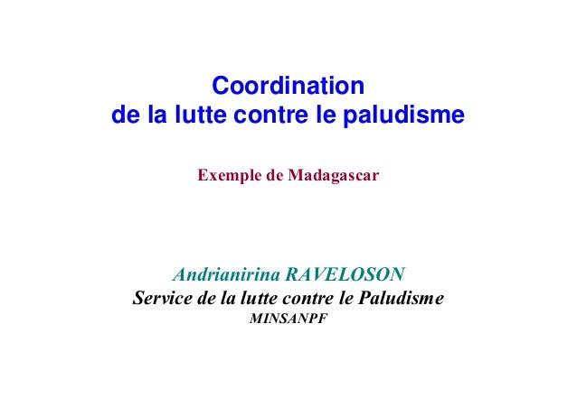 Coordinationde la lutte contre le paludisme