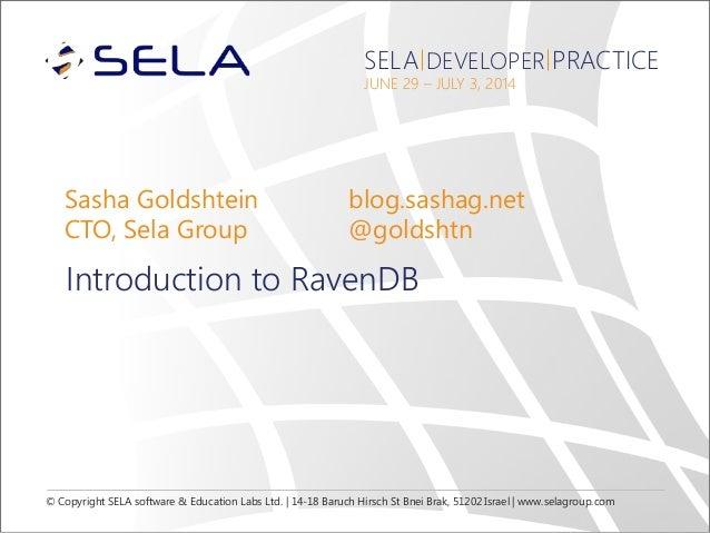 © Copyright SELA software & Education Labs Ltd. | 14-18 Baruch Hirsch St Bnei Brak, 51202 Israel | www.selagroup.com SELA ...