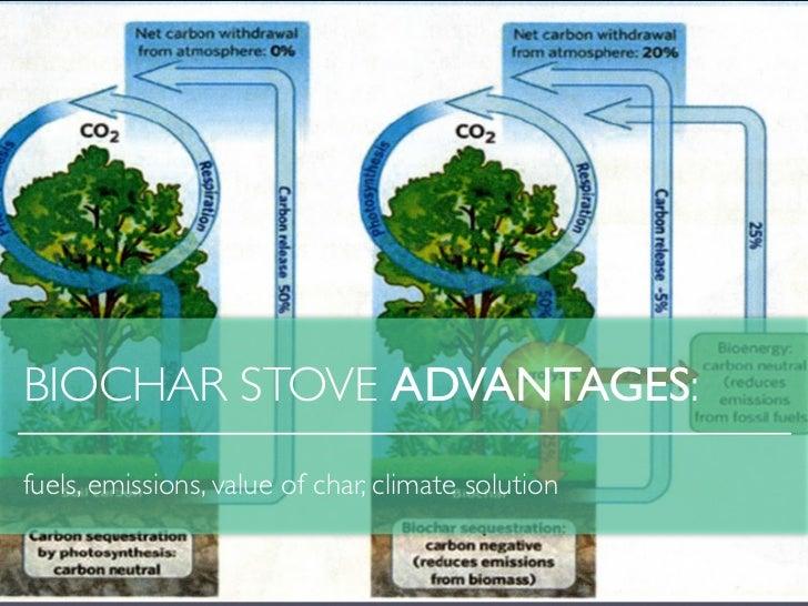 BIOCHAR STOVE ADVANTAGES:fuels, emissions, value of char, climate solution