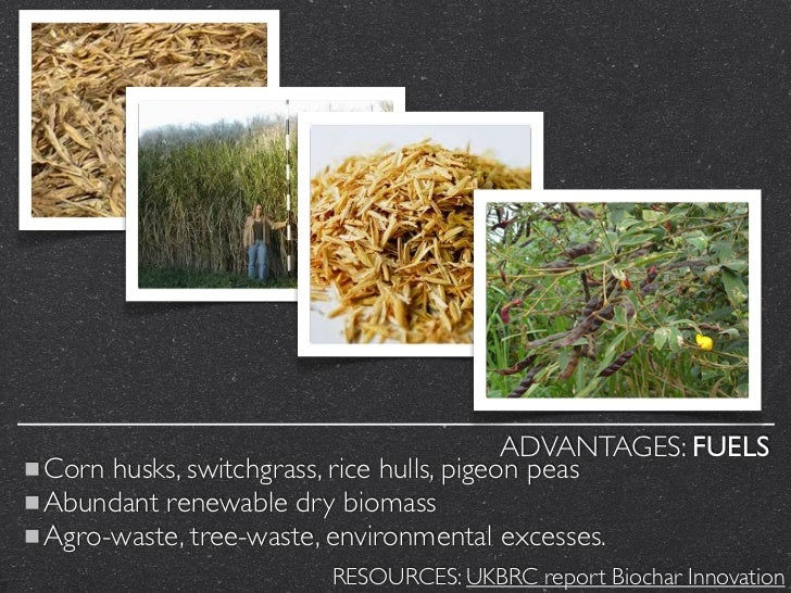 ADVANTAGES: FUELSCorn husks, switchgrass, rice hulls, pigeon peasAbundant renewable dry biomassAgro-waste, tree-waste, env...