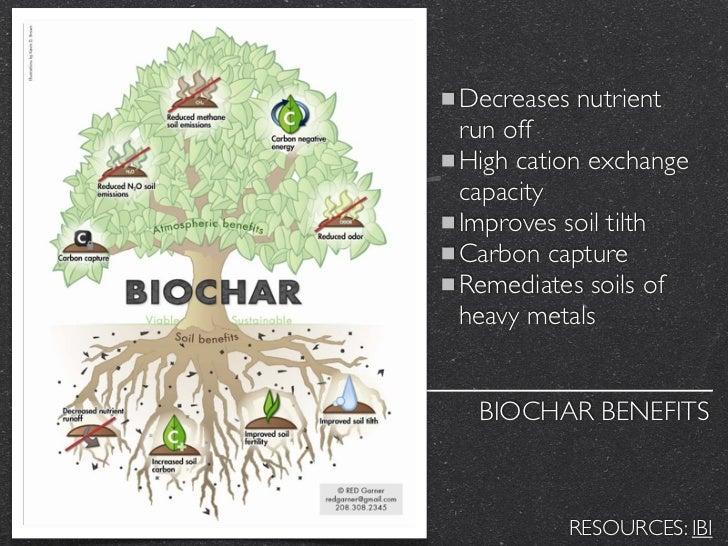 Decreases nutrientrun offHigh cation exchangecapacityImproves soil tilthCarbon captureRemediates soils ofheavy metals BIOC...