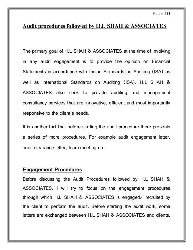 INTERNSHIP REPORT ON AUDIT PROCEDURES