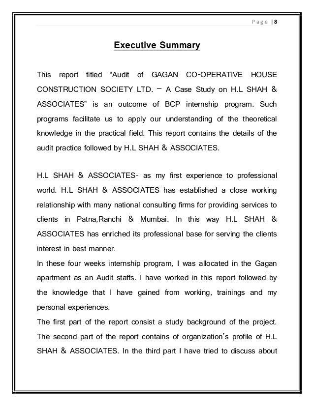Audit internship report