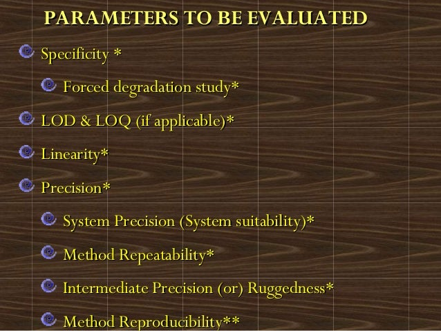 PARAMETERS TO BE EVALUATEDPARAMETERS TO BE EVALUATEDSpecificity *Specificity *Forced degradation study*Forced degradation ...