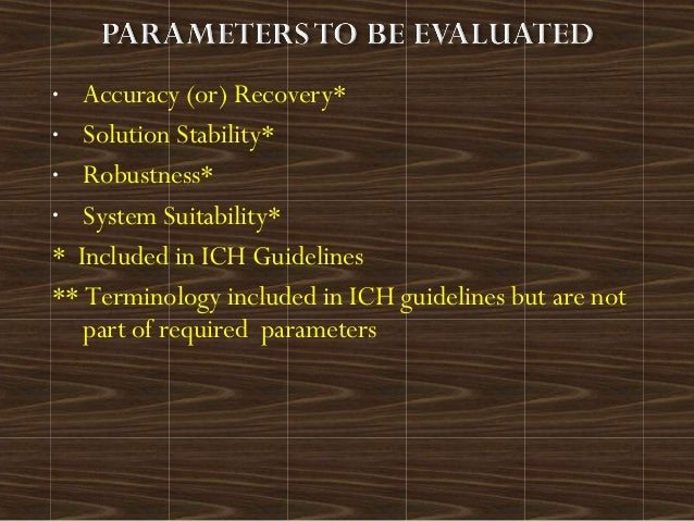 • Accuracy (or) Recovery*• Solution Stability*• Robustness*• System Suitability** Included in ICH Guidelines** Terminology...