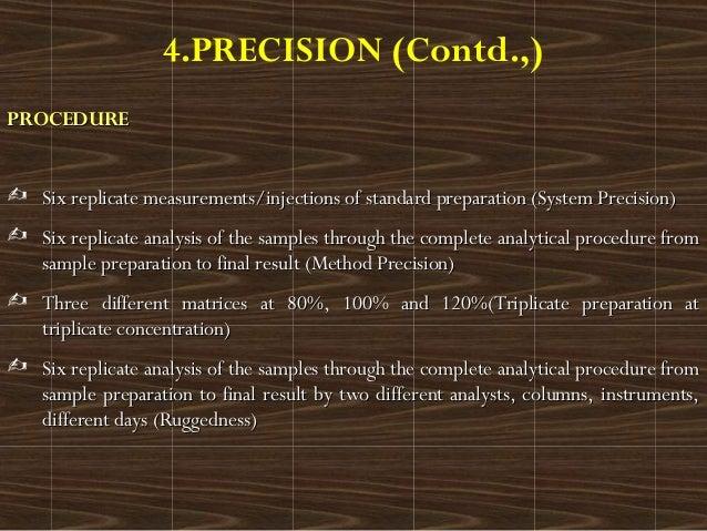 4.PRECISION (Contd.,)PROCEDUREPROCEDURE Six replicate measurements/injections of standard preparation (System Precision)S...