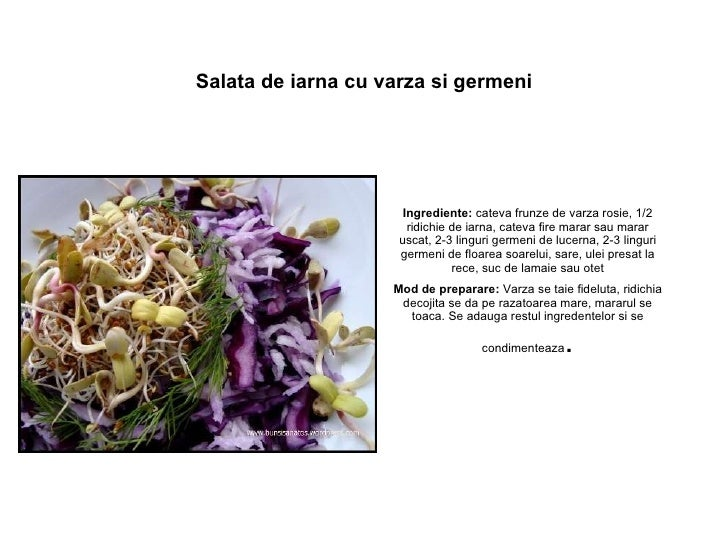 Salata de iarna cu varza si germeni Ingrediente: cateva frunze devarza rosie, 1/2 ridichie de iarna, cateva fire marar s...