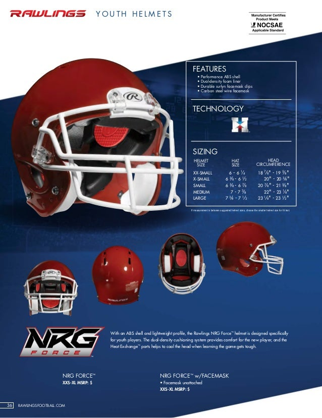 Rawlings Football Helmet Size Chart Rawlings football