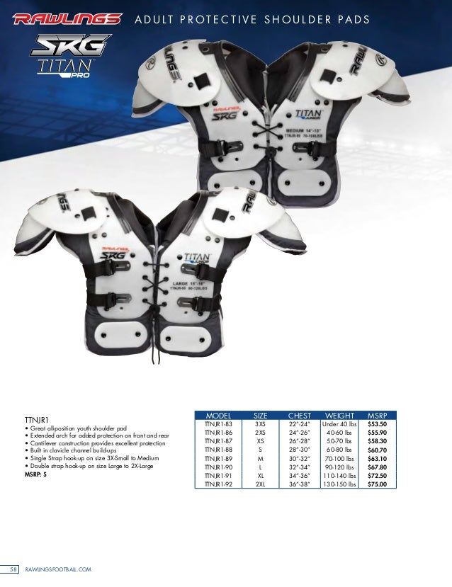 TP77 RAWLINGS TITAN SHOULDER PADS ADULT ALL SIZES