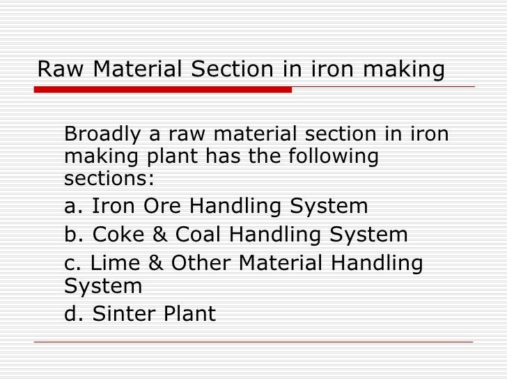raw material handling system in steel plant pdf