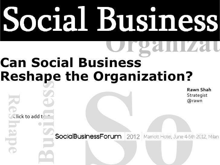 OrganizatCan Social BusinessReshape the Organization?                   Business                                          ...