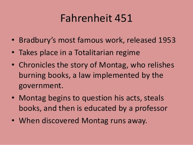 the struggles of montag with external conflict in fahrenheit 451 a novel by ray bradbury Fahrenheit 451 by ray bradbury fahrenheit 451 characters: record notes about characters, their descriptions, their motives, their roles in the plot, etc as you read.