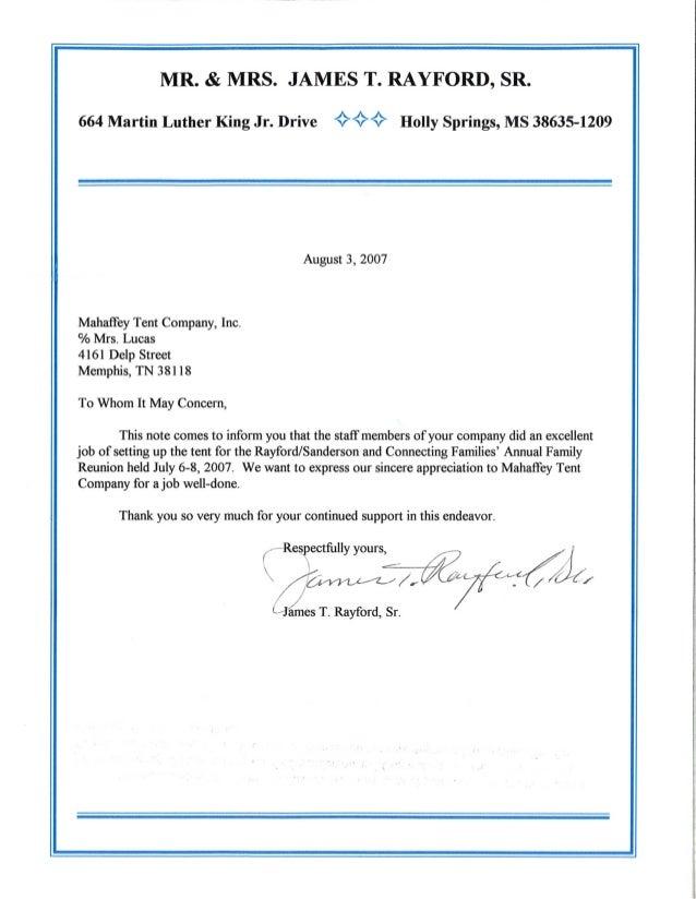 Rayford letter [testimonial]