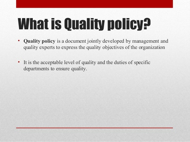 What is a quality statement