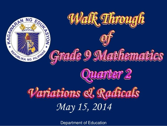 May 15, 2014 Department of Education