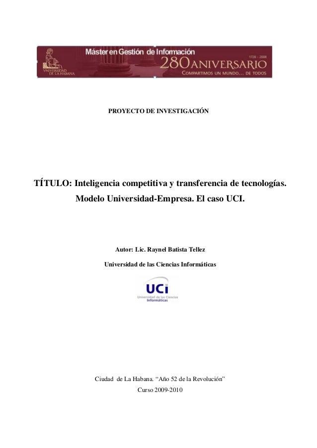 PROYECTO DE INVESTIGACIÓN TÍTULO: Inteligencia competitiva y ...